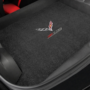 C7 Corvette Z06 w/ Crossed Flags Cargo Mats - Lloyds Mats: Z06 : Black