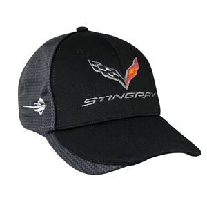 2014, 2015, 2016, 2017, Corvette Hat/Cap - Embroidered - Carbon Fiber Pattern - Black : C7 Stingray, Z51