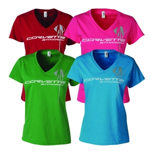 C7 Corvette Stingray - Ladies Triple Mark V-Neck Tee 2014+