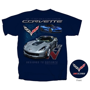 2014, 2015, 2016, 2017, C7 Corvette - Z06 A True World Class Supercar T-shirt : Navy