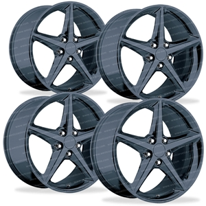2012 Corvette GM Wheel Exchange (Set) - Black Chrome 18x8.5/19x10 : 2005-2013 C6