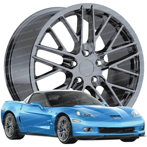 2009-2011 ZR1 Corvette GM Wheel Exchange (Set): Black Chrome 19x10/20x12