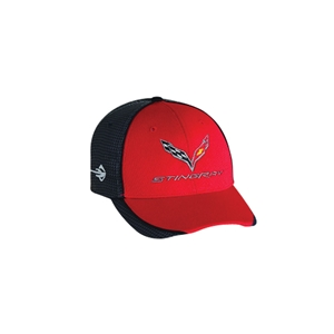2014,2015,2016,2017, C7 Corvette Stingray Hat/Cap - Embroidered - Carbon Fiber Pattern : Red