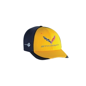 2014,2015,2016,2017, C7 Corvette Stingray Hat/Cap - Embroidered - Carbon Fiber Pattern : Yellow