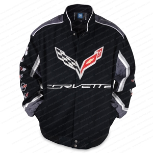 1953-2017 C7 Corvette All Logo Collage Twill Jacket - Black : C1, C2, C3, C4, C5, C6, C7.