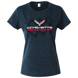 C7 Corvette - Ladies Corvette Racing T-Shirt : Heather Black 2014, 2015, 2016+