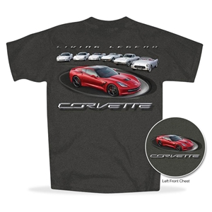C7 Corvette - Living Legend - All Year Corvettes T-shirt : Dark Heather - 2014,2015,2016,2017