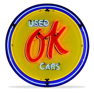 Corvette - OK Used Cars - Neon Sign in a Metal Can : Large 36 Inch Across