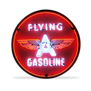 Corvette - Flying A Gasoline - Neon Sign in a Metal Can : Large 36 Inch Across