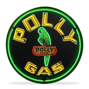 Corvette - Polly Gas - Neon Sign in a Metal Can : Large 36 Inch Across