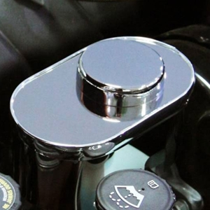 Corvette Brake Master Cylinder Cover with Chrome Cap Cover - Polished Stainless Steel : 2009-2013 C6, Z06, ZR1, Grand Sport