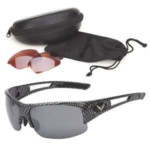 Corvette Rimless Sunglasses - Simulated Carbon Fiber  : C7 Logo