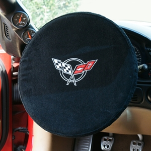 Corvette Steering Wheel Cover - Embroidered Emblem - Seat Armour : 1997-2004 C5, Z06