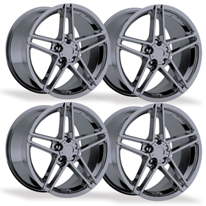 C6Z06 Style Corvette Wheels (Set): Black Chrome