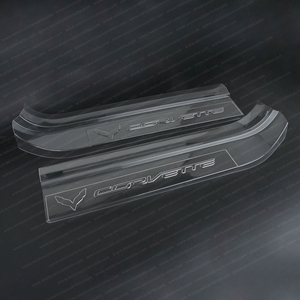 2014, 2015, 2016, 2017, Corvette Embossed Clear Door Sill Protectors : C7 Stingray, Z51, Z06, Grand Sport