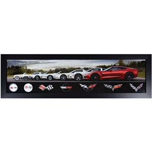 1953-2017, Corvette All Generations Panoramic Framed Photo : C1 - C7