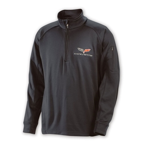 Corvette Quarter Zip Pullover  - Black : 2005-2013 C6