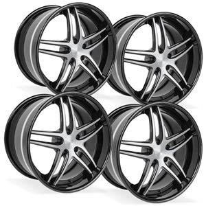 2015, 2016, 2017, Corvette WCC-1008 Forged 3-Piece Wheels - Black w/Machined Face : C7 Z06