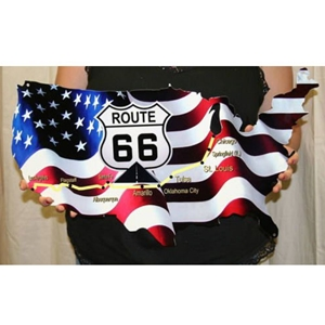 "1953-2017, C1, C2, C3, C4, C5, C5, C7 Corvette American Flag Route 66 Map Metal Wall Sign - 24"" x 14"""