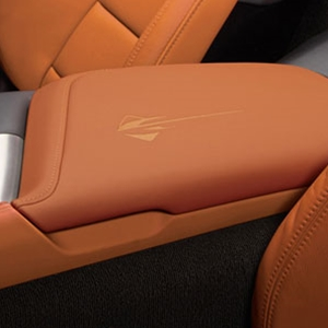2014, 2015, 2016, 2017 C7 Corvette Stingray, Z51 - Stingray Logo Embroidered Leather Center Console Arm Rest, GM Authorized/Licensed Product