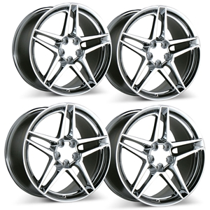 1997-2013 C5, C6 Corvette ACE Slick Wheels (Set) : Chrome 18x9.5/18x11