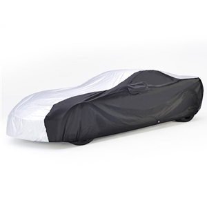 2014, 2015, 2016, 2017 C7 Corvette Stingray, Z51, Z06, Grand Sport Intro-Guard Embossed Car Cover - Indoor/Outdoor Protection : Silver/Black