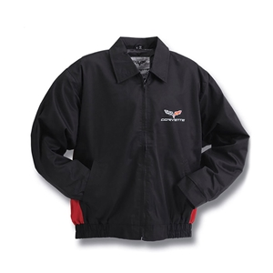 2005-2013 C6 Corvette Jacket - Black and Red Twill Embroidered.