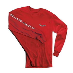 C6 Corvette Long Sleeve Tee Shirt : Red