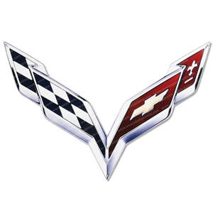 2014, 2015, 2016, 2017, C7 Corvette Stingray Metal Hood Panel Badge - Crossed Flags for Factory Hood Pad