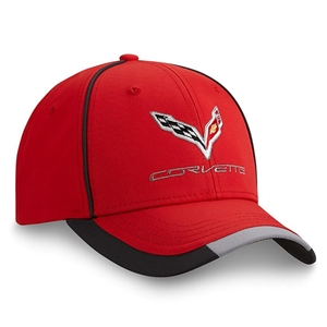 2014, 2015, 2016, 2017, C7 Corvette Stingray - Embroidered Performance Cap/Hat : Red 2014, 2015