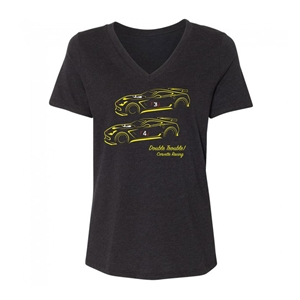2014, 2015, 2016, 2017, 2018 Ladies C7 Corvette Racing Double Trouble T-Shirt : Heather Black