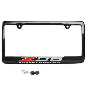 C7 Z06 Supercharged Corvette License Plate Frame - Carbon Fiber