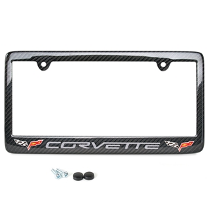 C6 Gray Corvette Script w/Double Logo License Plate Frame - Carbon Fiber