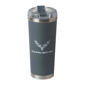 C7 Corvette Brooklyn Tumbler Vacuum Insulated w/ Crossed Flags : Matte Gray