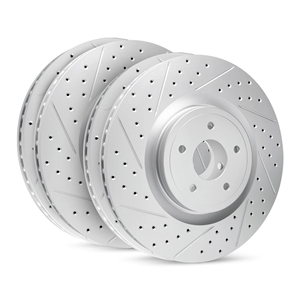 1997-2013 C5, C6 Corvette R1 High Carbon Alloy Geomet Series Drilled & Slotted Rotors Set