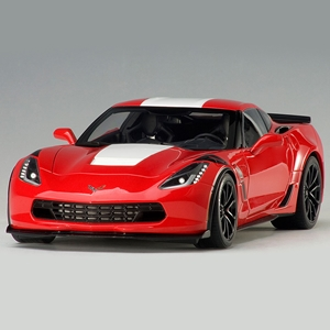 C7 Corvette Grand Sport - Red w/White Stripe, Black Fender : Die Cast 1:18