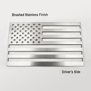 Corvette American Flag Vehicle Emblem : Stainless Steel
