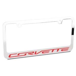 C7 Corvette Chrome License Plate Frame with high impact Red acrylic Corvette letters