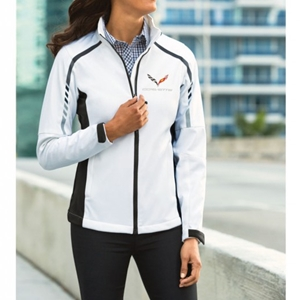 C7 Corvette Ladies Metro Soft Shell Jacket : Sea Salt White/Deep Gray.