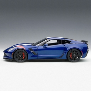 C7 Corvette Grand Sport - Admiral Blue w/White Stripe, Red Fender Hash Marks : Die Cast 1:18