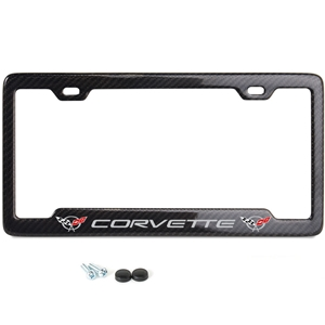 C5 Corvette script with w/Double Logo Carbon Fiber License Plate Frame