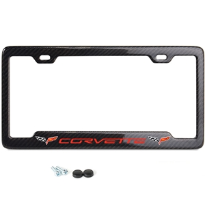 C6 Red Corvette Script w/Double Logo License Plate Frame - Carbon Fiber