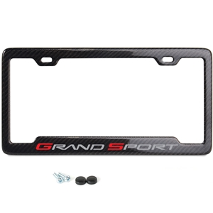 C6 Grand Sport Logo License Plate Frame - Carbon Fiber