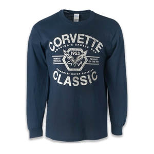 C7 Corvette Classic 1953 Long Sleeve T-Shirt : Navy