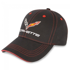 C7 Corvette Stingray Patch Hat/Cap : Black, Red