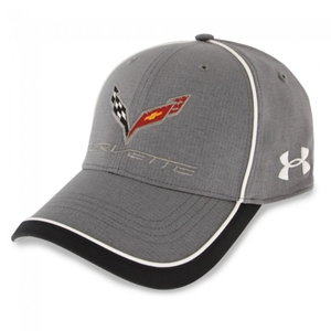 C7 Corvette Stingray Under Armour Fitted Hat/Cap : Graphite, White