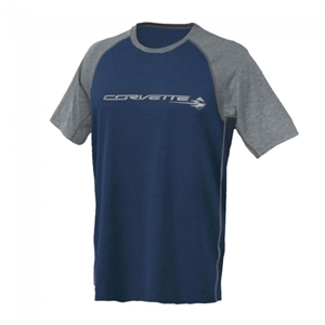 C7 Corvette Stingray Reverse-Mesh Tee : Navy, Gray