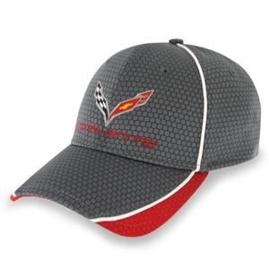 Corvette Hex Pattern Hat/Cap - Graphite/Red : C7 Stingray