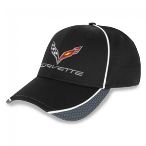 Corvette Hex Pattern Hat/Cap - Black/Graphite/White : C7 Stingray