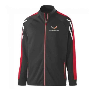 C7 Corvette Tri-Color Jacket with C7 Emblem : Black Heather, Scarlet/White.